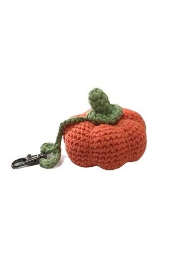 Quzucuk Kids Amigurumi Özel Tasarım Organik El Örgüsü Balkabağı Anahtarlık Ø8Cm Oranj